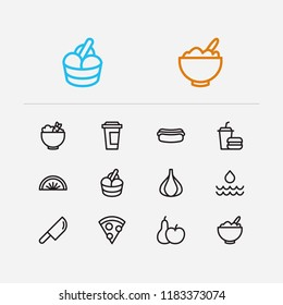 Meal icons set. Healthy food and meal icons with fruit, pizza and hot dog. Set of beverage for web app logo UI design.