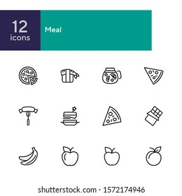Meal line icon set. Set of line icons on white background. Food concept. Pizza, lemonade, banana. Vector illustration can be used for topics like supermarket, cooking