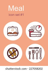 Meal menu food and drink icons. Set of editable vector color illustrations.