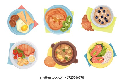 Meal Served on Plate with Napkin Rested Underneath it Top View Vector Set