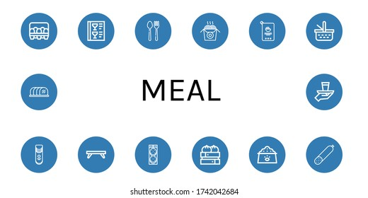 meal simple icons set. Contains such icons as Eggs, Menu, Cutlery, Noodles, Mayonnaise, Picnic basket, Crisps, Breakfast tray, Burger, Dumpling, can be used for web, mobile and logo