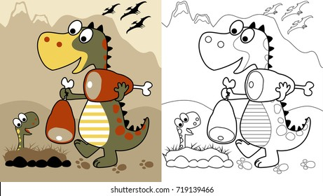 meal time for dino's family, vector cartoon, coloring page or book