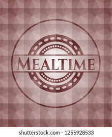 Mealtime red seamless polygonal badge.