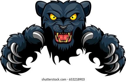 Mean Black Panther Mascot.Vector illustration