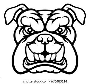 A mean bulldog dog angry animal sports mascot cartoon character