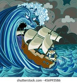 Mean faced giant wave with big teeth is swallowing an old style sailing ship as the captain calmly stands in the back.