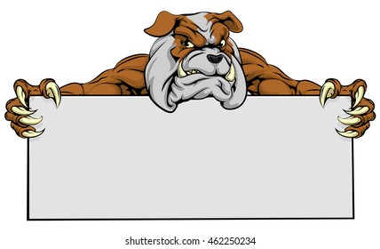 A mean looking bulldog dog mascot holding a sign