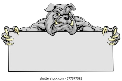 A mean looking bulldog mascot holding a sign