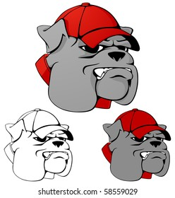 Mean looking bulldog mascot wearing a ball cap. Multiple color versions.