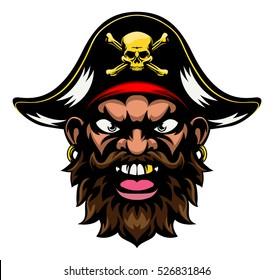 A mean looking cartoon pirate sports mascot