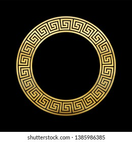 Meander circle, golden frame with seamless pattern design on black background. Golden Meandros, a decorative border, constructed from continuous lines, shaped into a repeated motif.