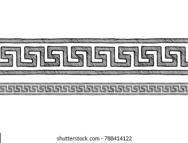 Meander, old greek border ornament in ink hand drawn style. Horizontal seamless pattern border.