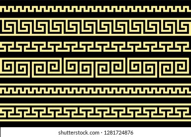 meander pattern. greek fret repeated motif. vector seamless pattern. simple repetitive background. geometric shapes. textile paint. fabric swatch. wrapping paper. modern stylish texture