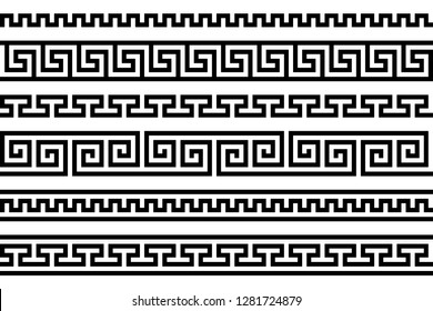 meander pattern. greek fret repeated motif. vector seamless pattern. simple black and white background. geometric shapes. textile paint. repetitive background. fabric swatch. wrapping paper. texture