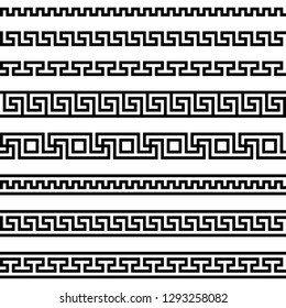 meander pattern. greek fret repeated motif. vector seamless pattern. simple black and white background. geometric shapes. textile paint. repetitive background. fabric swatch. wrapping paper