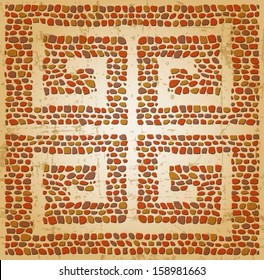 Meander seamless ornament, stone tile pattern, Greek Key Background Pattern