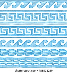 Meander, wave and other ancient Greece ornament in blue. Seamless pattern in ink hand drawn style on white background