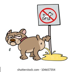 A mean-looking bulldoggish toon dog urinating on a NO DOGS ALLOWED sign