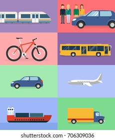 means of transport flat design