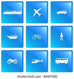 Means of transportation icon set. Vector illustration.