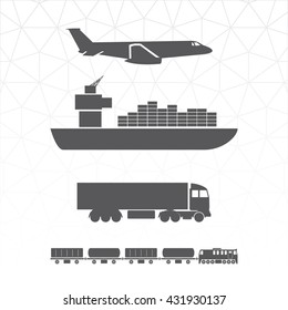 Means of Transportation Logistics Main Modes of Transport Vector Icons - Vehicle Ship Plane Train Side View Black on White - Infographic Silhouette Style