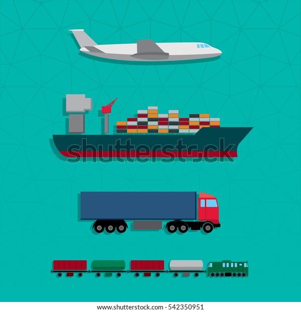 Means Transportation Vehicle Ship Plane Train Stock Vector