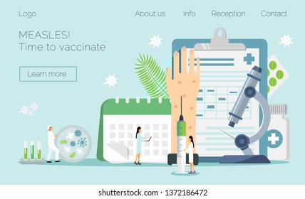 Measles, rubeola vaccination. Time to vaccinate. Vector illustration syringe with vaccine, bottle, calendar and doctors. Modern vector illustration concepts for website, apps.