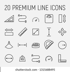 Measuirng related vector icon set. Well-crafted sign in thin line style with editable stroke. Vector symbols isolated on a white background. Simple pictograms