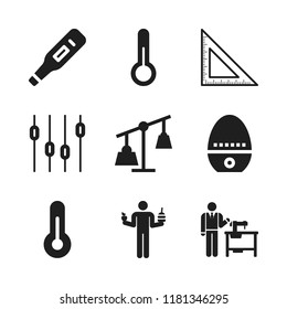 measure icon. 9 measure vector icons set. tailor, thermometer and levels icons for web and design about measure theme