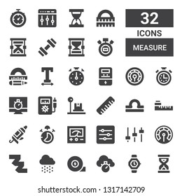measure icon set. Collection of 32 filled measure icons included Sandclock, Watch, Chronometer, Measuring tape, Rain, Thermometer, Levels, Voltmeter, Stop watch, Caulk gun, Meter