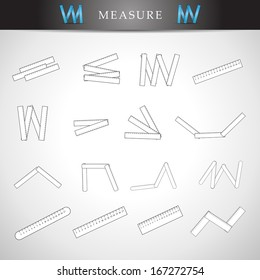 Measure Icons Set - Isolated On Gray Background - Vector Illustration, Graphic Design Editable For Your Design.