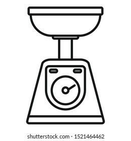 Measure kitchen scales icon. Outline measure kitchen scales vector icon for web design isolated on white background