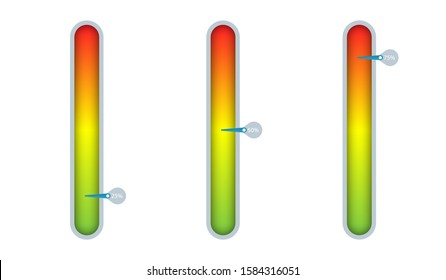 Measure the level with a green red gradient and a percentage arrow on the side. Progress indicator bar template. Creative vector illustration for infographics on the site.
