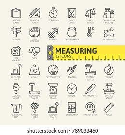 Measure, precision measurement - minimal thin line web icon set. Outline icons collection. Vector illustration.
