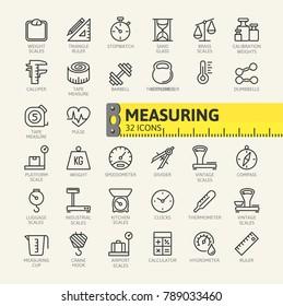 Measure, precision measurement - minimal thin line web icon set. Outline icons collection. Vector illustration.