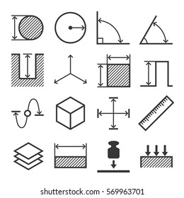 Measure Related Icons Set. Vector