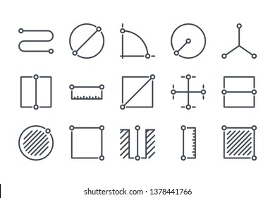 Measure related line icon set. Length and size linear icons. Distance metric outline vector sign collection.