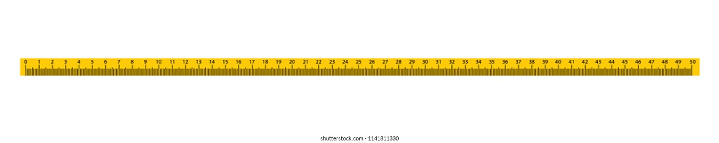Measure Tape ruler metric measurement. Metric ruler. 50 centimeters metric vector ruler with yellow and black color. School equipment