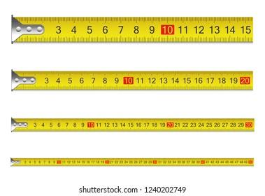 Measure tape set. Vector illustration