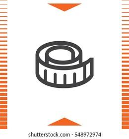 Measure tape vector icon. Measuring device sign. Construction measurement symbol