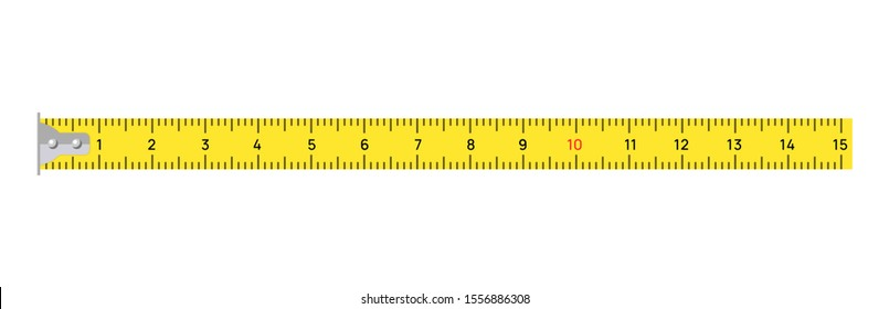 Measure tape vector meter isolated scale. Yellow ruler measure tape centimeter inch.