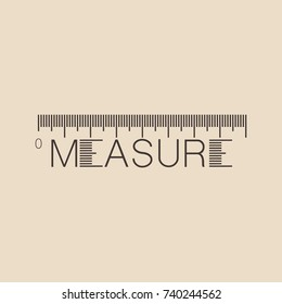 Measure typographic concept on light background, lettering