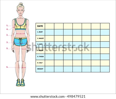 Measurement Chart Body Parameters Sport Diet Stock Vector Royalty