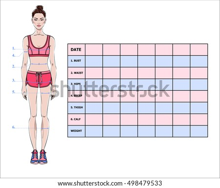 Measurement Chart Body Parameters Sport Diet Stock Vector Royalty
