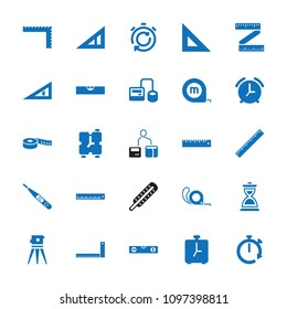 Measurement icon. collection of 25 measurement filled icons such as triangle ruler, ruler, theodolite, tape, blod pressure tool. editable measurement icons for web and mobile.