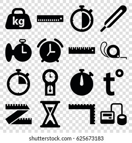 Measurement icons set. set of 16 measurement filled icons such as ruler, tape, blod pressure tool, themometer, weight, temperature, hourglass, pendulum, stopwatch, alarm