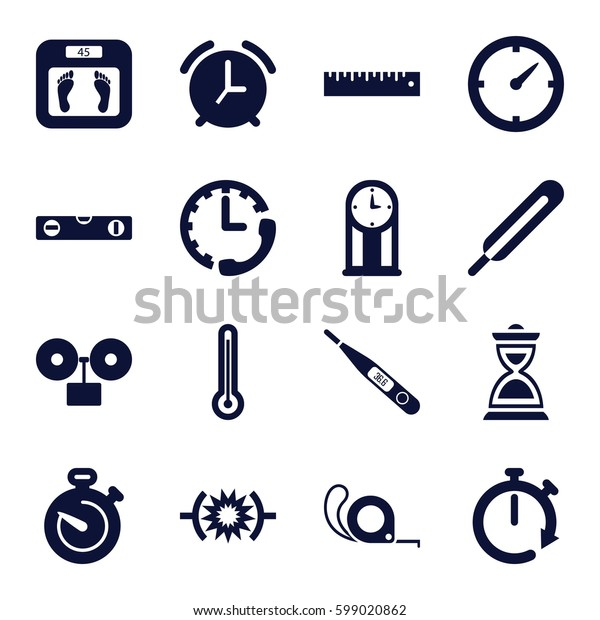 measurement icons set. Set of 16 measurement filled icons such as floor scales, level ruler, tape, themometer, hourglass, thermometer, ruler, stopwatch, clock, pendulum, alarm