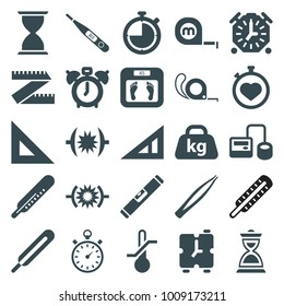 Measurement icons. set of 25 editable filled measurement icons such as triangle ruler, thermometer, floor scales, tape, ruler, clock alarm, blod pressure tool, themometer