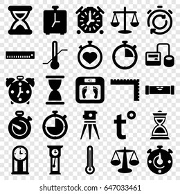Measurement icons set. set of 25 measurement filled icons such as level ruler, ruler, floor scales, theodolite, blod pressure tool, stopwatch, thermometer, hourglass