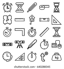 Measurement icons set. set of 25 measurement outline icons such as ruler, triangle ruler, level ruler, thermometer, blod pressure tool, themometer, weight, stopwatch